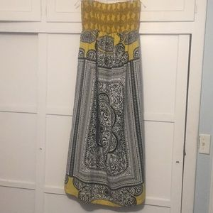 Black, white, yellow, patterned dress